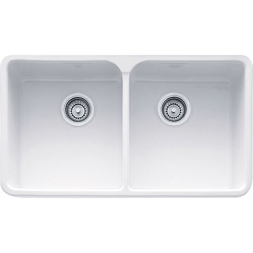 """Manor House 31.25"""" Fireclay Double Basin Apron Front Kitchen Sink in White"""