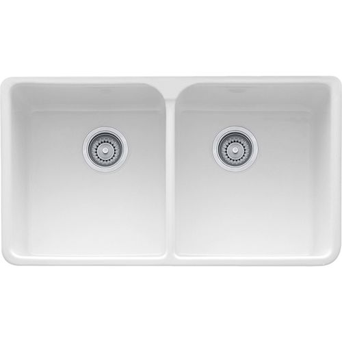 """Manor House 35.63"""" Fireclay Double Basin Apron Front Kitchen Sink in White"""