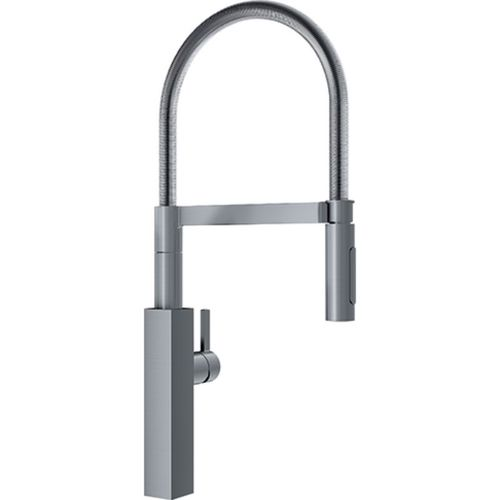 """Professional Single-Handle Pre-Rinse Kitchen Faucet in Satin Nickel - 23.06"""""""
