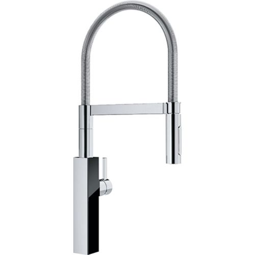 Crystal Single-Handle Pre-Rinse Kitchen Faucet in Polished Chrome Black