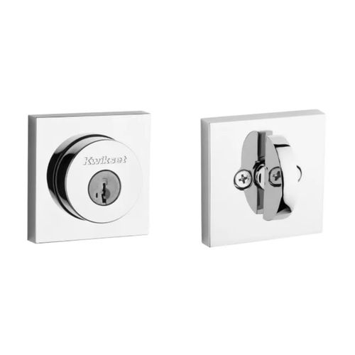 Halifax Square Exterior SmartKey Deadbolt in Polished Chrome - Round Face Adjustable Latch