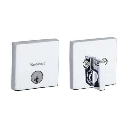 Downtown Square SmartKey Deadbolt in Polished Chrome - Round Corner Adjustable Latch