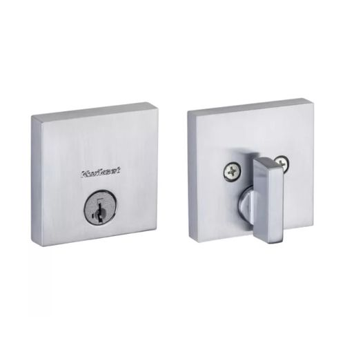 Downtown Square SmartKey Deadbolt in Satin Chrome - 6 Way Adjustable Latch