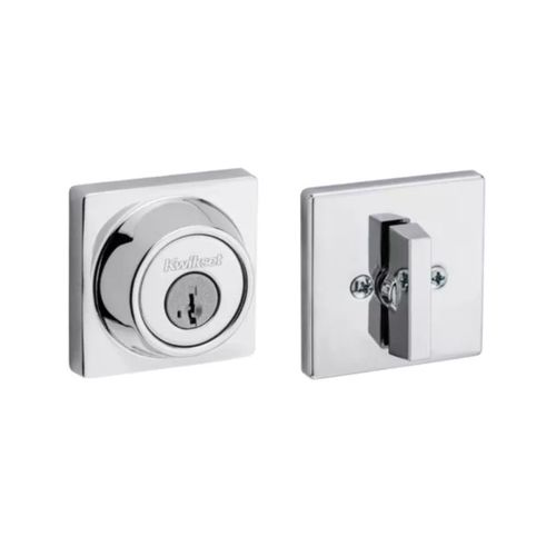 Halifax Square Interior/Exterior SmartKey Deadbolt in Polished Chrome - Round Face Adjustable Latch