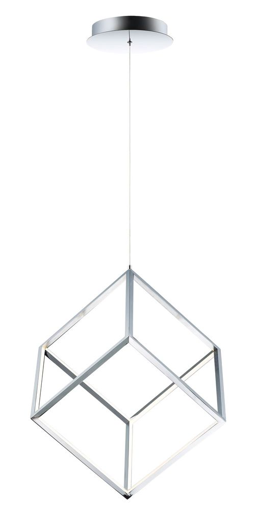 """4 Square 12.5"""" Wide 1 Light Single Pendant using PCB Integrated LED Bulbs in Polished Chrome"""