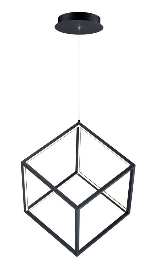 "4 Square 20.5"" 1-Light Single Pendant - Black"