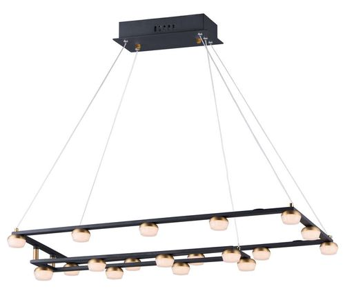 """Button 15.75"""" Wide 18 Light Suspension Pendant using PCB Integrated LED Bulbs in Black / Gold"""