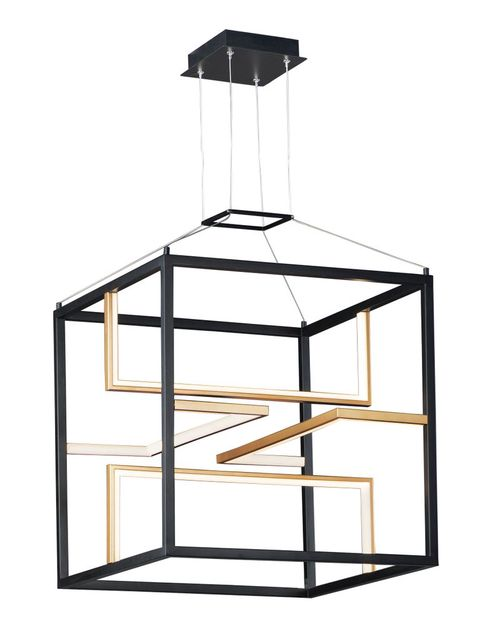"""Chamber 18.25"""" Wide 4 Light Single Pendant using PCB Integrated LED Bulbs in Black / Gold"""