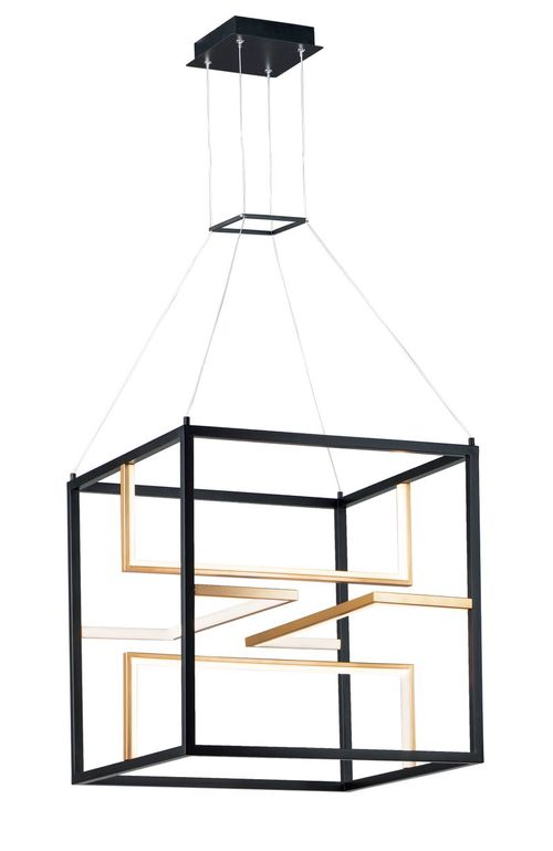 """Chamber 23.75"""" Wide 4 Light Single Pendant using PCB Integrated LED Bulbs in Black / Gold"""