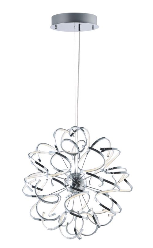 """Chaos 31.5"""" Wide 12 Light Single Pendant using PCB Integrated LED Bulbs in Polished Chrome"""