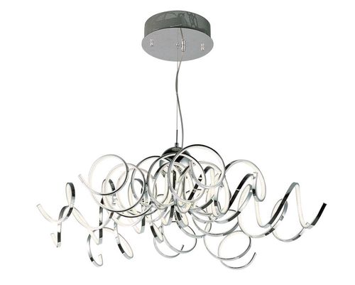 """Chaos 42"""" Wide 10 Light Single Pendant using PCB Integrated LED Bulbs in Polished Chrome"""
