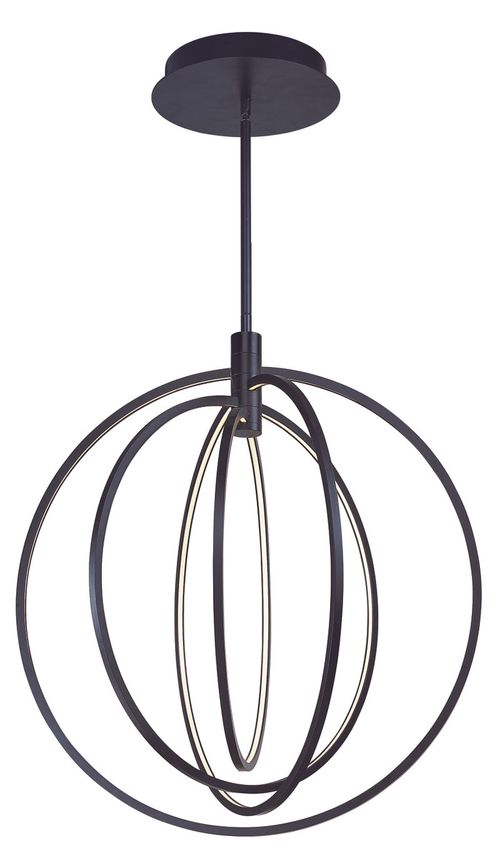 """Concentric 27"""" Wide 4 Light Single Pendant using PCB Integrated LED Bulbs in Bronze"""
