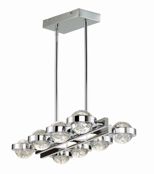 """Cosmo 30"""" Wide 8 Light Linear Pendant using PCB Integrated LED Bulbs in Polished Chrome"""