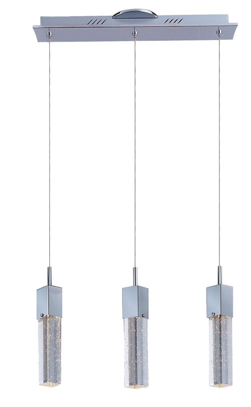 """Fizz III 19.5"""" Wide 3 Light Linear Pendant using PCB Integrated LED Bulbs in Polished Chrome"""