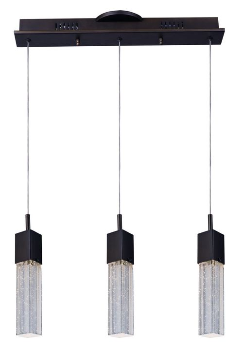 """Fizz III 5"""" Wide 3 Light Linear Pendant using PCB Integrated LED Bulbs in Bronze"""