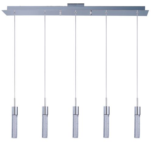 """Fizz IV 2"""" Wide 5 Light Linear Pendant using PCB Integrated LED Bulbs in Polished Chrome"""