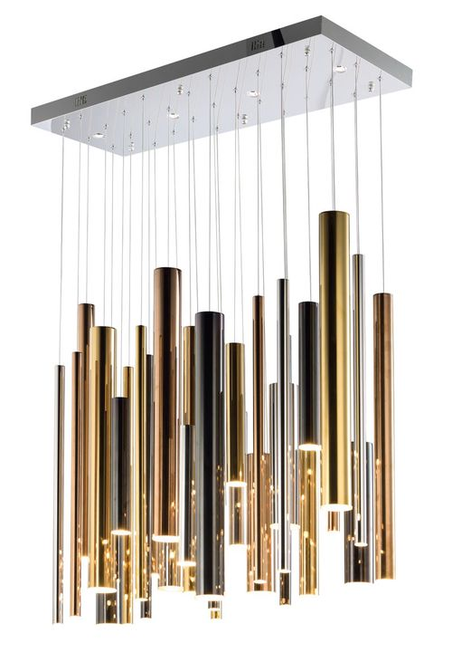 """Flute 11.75"""" Wide 35 Light Linear Pendant using PCB Integrated LED Bulbs in Multi-Plated"""