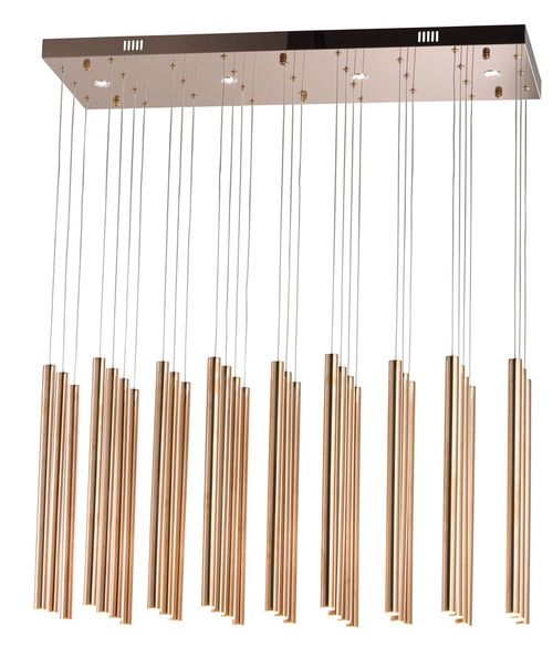 """Flute 11.75"""" Wide 35 Light Linear Pendant using PCB Integrated LED Bulbs in Rose Gold"""