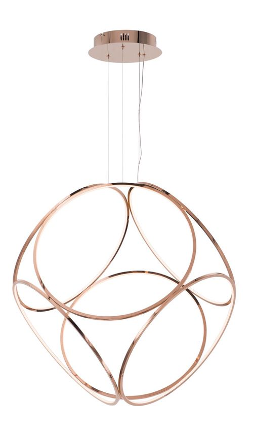 """Form 45.25"""" Wide 1 Light Suspension Pendant using PCB Integrated LED Bulbs in Rose Gold"""