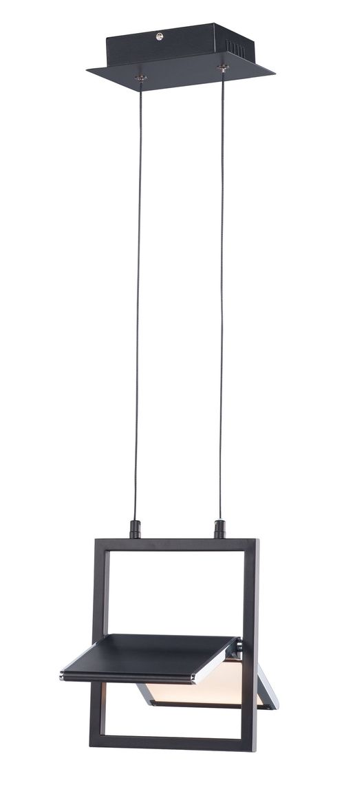 """Glider 10.25"""" Wide 1 Light Single Pendant using PCB Integrated LED Bulbs in Black / Polished Chrome"""
