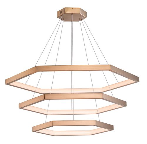 """Hex 34"""" Wide 3 Light Suspension Pendant using PCB Integrated LED Bulbs in Brushed Champagne"""