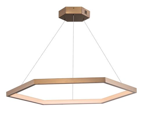 """Hex 39.5"""" Wide 1 Light Suspension Pendant using PCB Integrated LED Bulbs in Brushed Champagne"""
