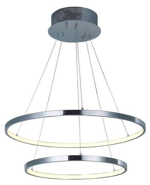 """Hoops 23.5"""" Wide 2 Light Single Pendant using PCB Integrated LED Bulbs in Polished Chrome"""