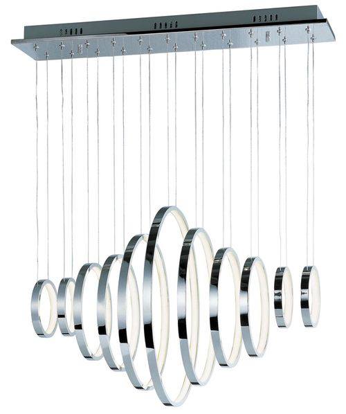 """Hoops 20"""" Wide 11 Light Linear Pendant using PCB Integrated LED Bulbs in Polished Chrome"""