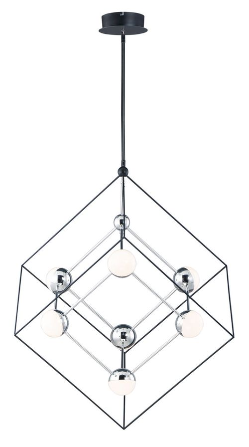 """Ion 30.5"""" Wide 7 Light Single Pendant using PCB Integrated LED Bulbs in Black / Polished Chrome"""