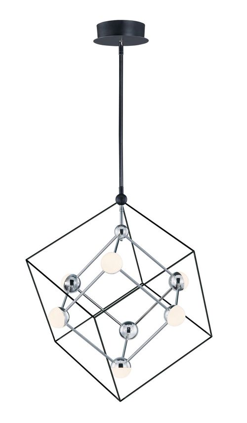 """Ion 22.25"""" Wide 7 Light Single Pendant using PCB Integrated LED Bulbs in Black / Polished Chrome"""