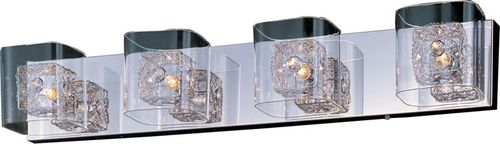 """Gem 31"""" 4 Light Vanity Lighting in Polished Chrome and Silver"""