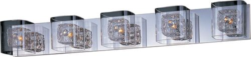 """Gem 39"""" 5 Light Vanity Lighting in Polished Chrome and Silver"""