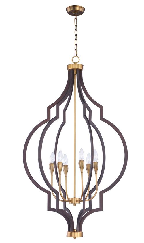 "Crest 26"" 6-Light Entry Foyer Pendant - Oil Rubbed Bronze / Antique Brass"