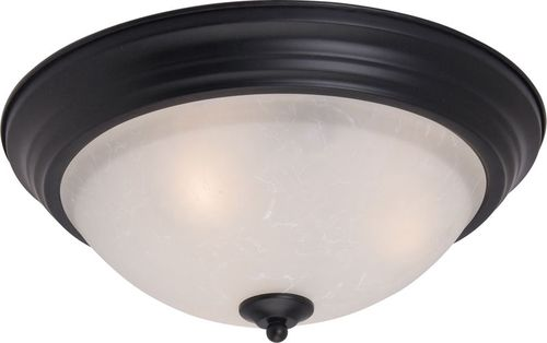 """Essentials - 584x 15.5"""" 3 Light Flush Mount in Black with Ice Glass Finish"""