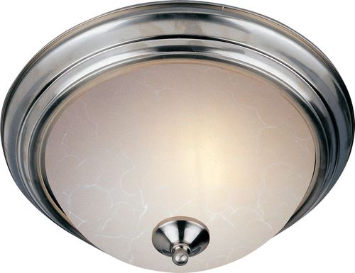 """Essentials - 584x 15.5"""" 3 Light Flush Mount in Satin Nickel with Ice Glass Finish"""