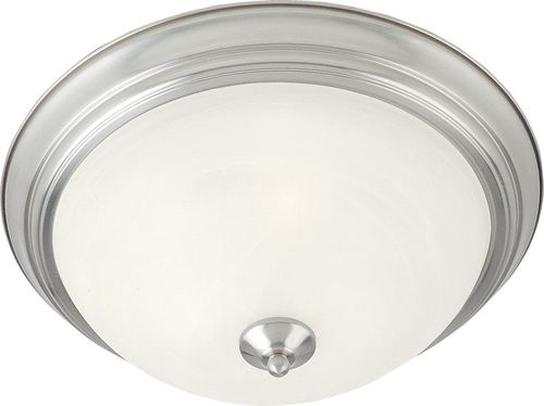 """Essentials - 584x 11.5"""" 2 Light Flush Mount in Satin Nickel with Marble Glass Finish"""