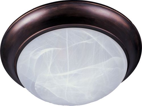 """Essentials - 585x 12"""" Single Light Flush Mount in Oil Rubbed Bronze with Marble Glass Finish"""