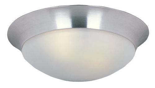 """Essentials - 585x 16.5"""" 3 Light Flush Mount in Satin Nickel with Frosted Glass Finish"""