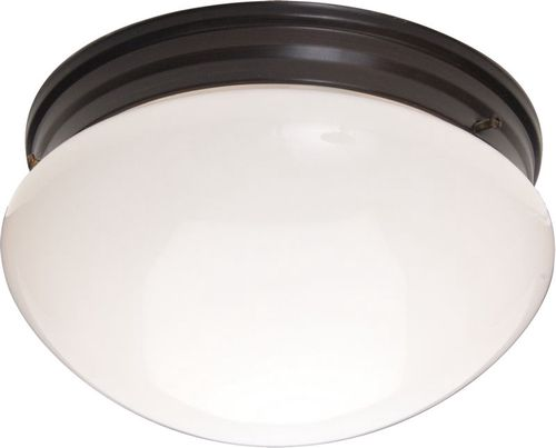 """Essentials - 588x 9"""" 2 Light Flush Mount in Oil Rubbed Bronze with White Glass Finish"""