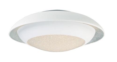 """Iris 11.5"""" Single Light Flush Mount in Silver Leaf and White"""