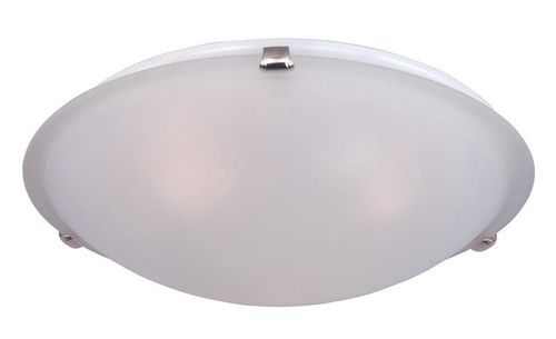 """Malaga 16"""" 3 Light Flush Mount in Satin Nickel with Frosted Glass Finish"""