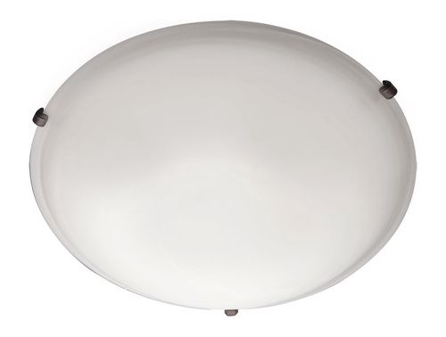 """Malaga 16"""" 3 Light Flush Mount in Oil Rubbed Bronze with Frosted Glass Finish"""