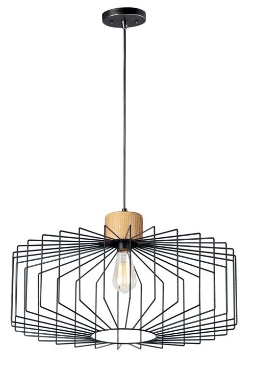 """Bjorn 23.25"""" Single Light Pendant in Black and Natural Wood"""