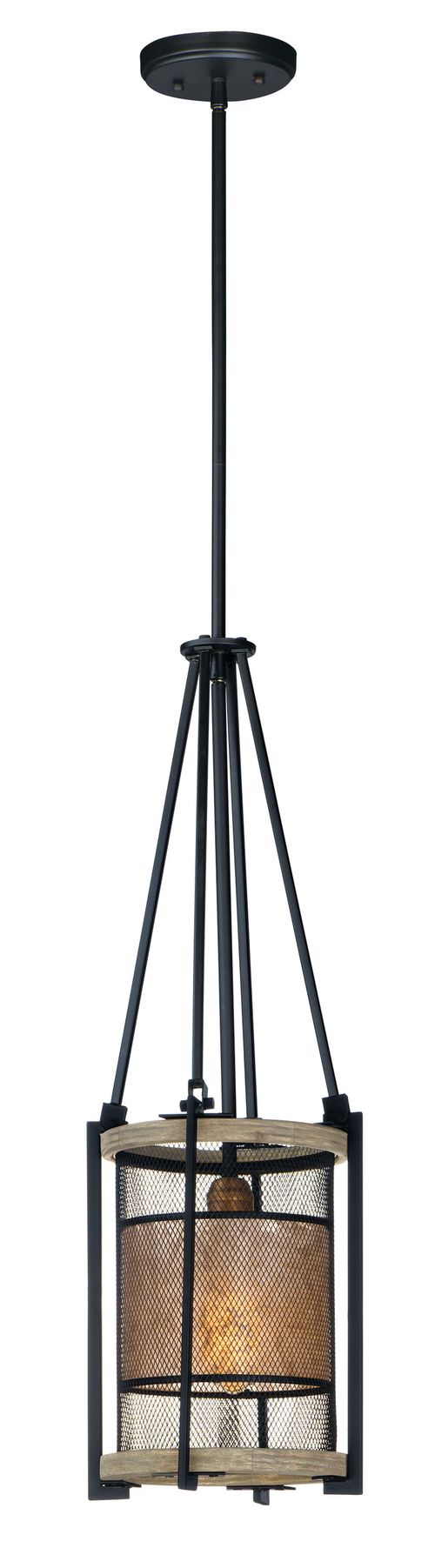 """Boundry 9"""" Single Light Mini-Pendant in Black and Barn Wood and Antique Brass"""