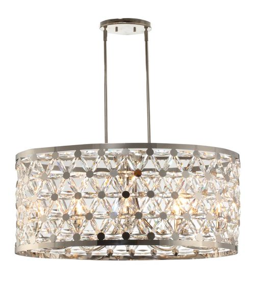 """Cassiopeia 16.25"""" 8-Light Entry Foyer Pendant - Polished Nickel"""