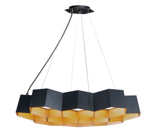 """Honeycomb 22.5"""" 10 Light Chandelier in Black and Gold"""