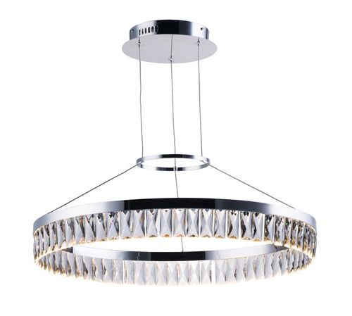 """Icycle 27.25"""" 1-Light Suspension Chandelier - Polished Chrome"""