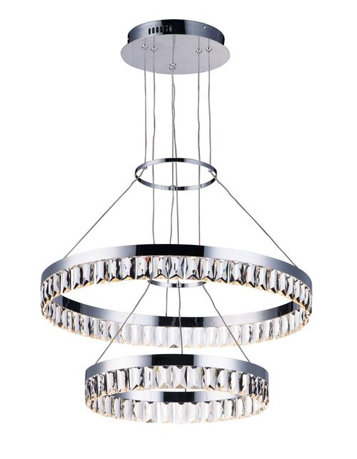 """Icycle 23.5"""" Single Light Chandelier/Linear Pendant in Polished Chrome"""