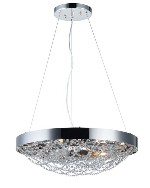 """Lace 25"""" x 7.75"""" Chandelier with 10 Light bulbs included - Polished Nickel"""