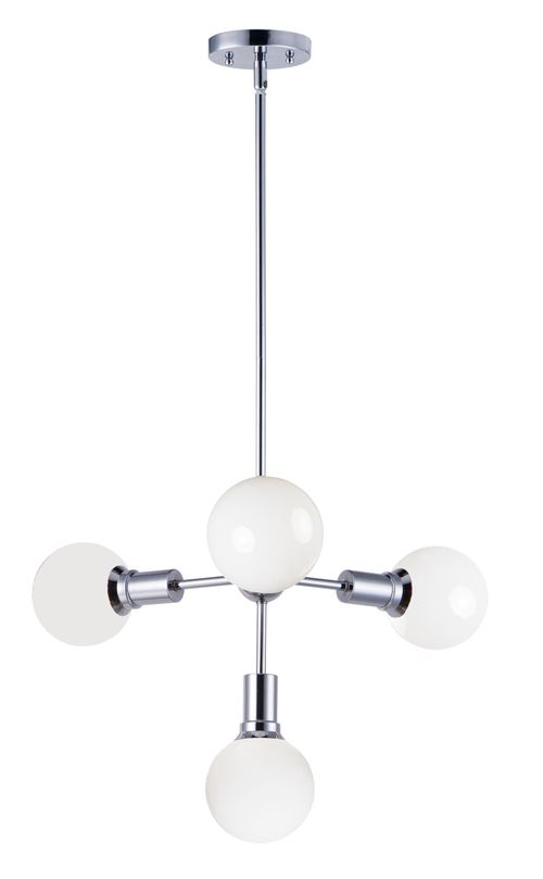 """Molecule 14"""" Linear Pendant with 4 Lights - Polished Chrome"""